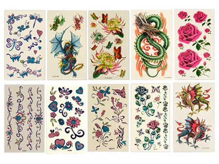Temporary Tattoos on 10 Glitter Temporary Tattoos Sheets  Start From 5 Units    Usd   3 95